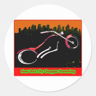 New York City Chopper Dreaming Red jGibney The MUS Classic Round Sticker