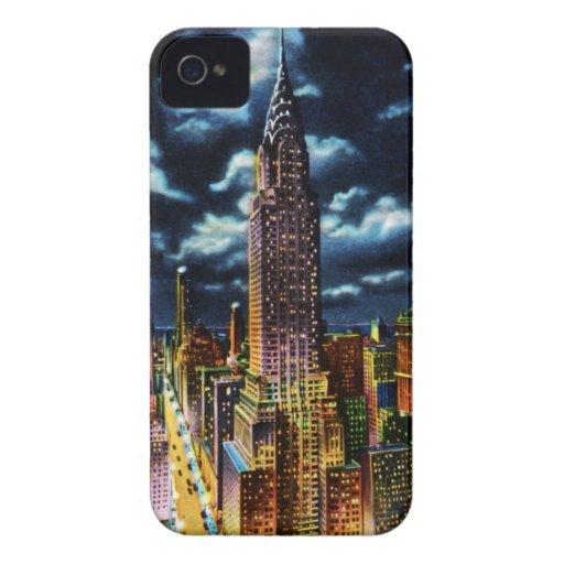 New York City Chrysler que construye en la noche iPhone 4 Case-Mate Protector