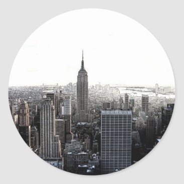 USA Themed New York City Classic Round Sticker