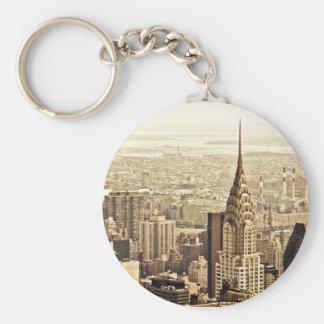 New York City - construcción de Chrysler Llavero Redondo Tipo Pin