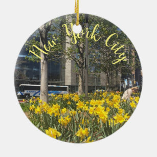 New York City Daffodils Columbus Circle NYC Spring Ceramic Ornament