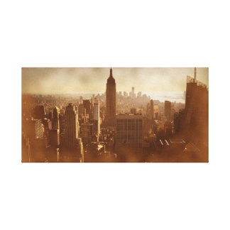 New York City Damaged Photo Effect Wrapped Canvas