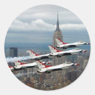 New York City del F-16 Pegatina Redonda
