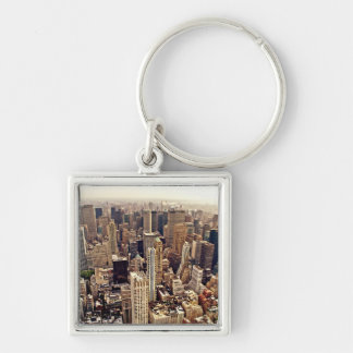 New York City desde arriba Llavero Cuadrado Plateado