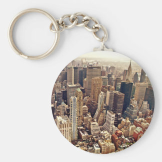 New York City desde arriba Llavero Redondo Tipo Pin