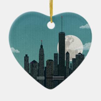New York City Double-Sided Heart Ceramic Christmas Ornament