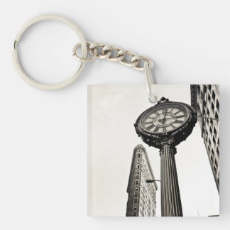New York City - edificio y reloj de Flatiron Llavero Cuadrado Acrílico A Una Cara