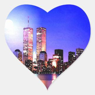 New York City en el pegatina del corazón de la noc