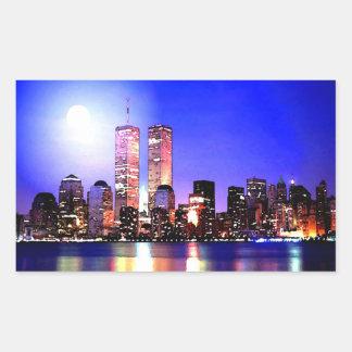 New York City en el pegatina del rectángulo de la