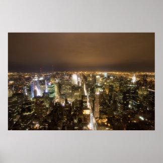 New York City en la impresión de la noche Póster
