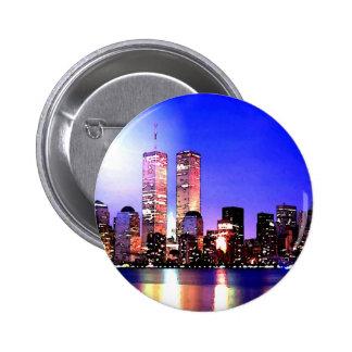 New York City en la noche Pin Redondo De 2 Pulgadas