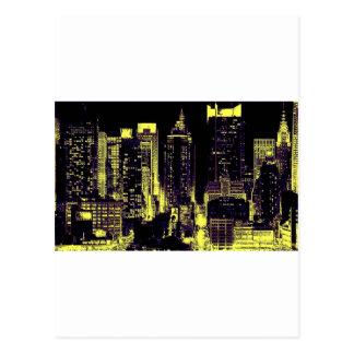 New York City en la noche Postal