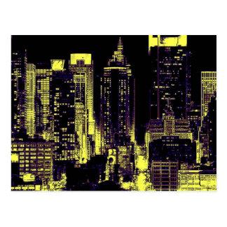 New York City en la noche Postales