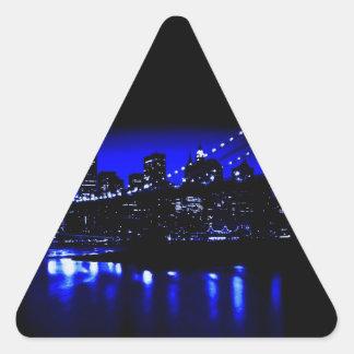 New York City en pegatina azul del triángulo de la
