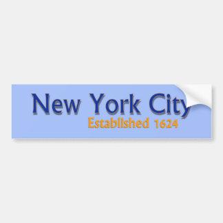 New York City Established Vehicle Bumper Sticker