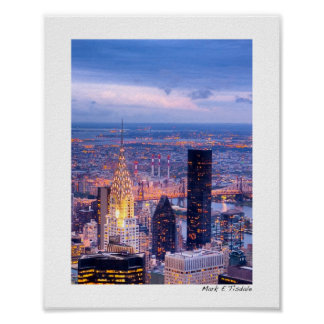 New York City Evening - View From Above - Small Poster
