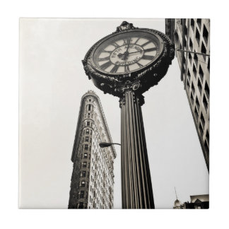 New York City - Flatiron Building and Clock Ceramic Tile