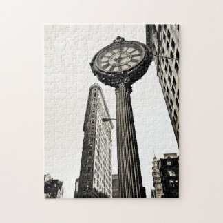 New York City - Flatiron Building and Clock Jigsaw Puzzle