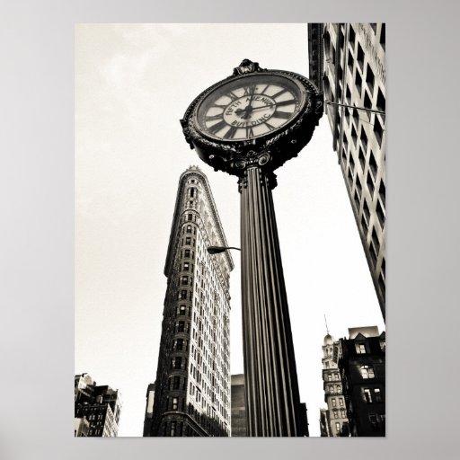 New York City - Flatiron Building and Clock Poster