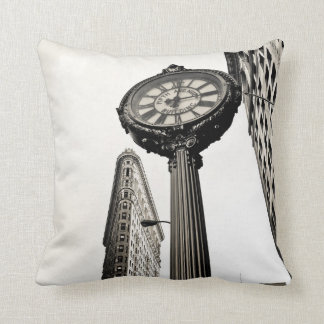 New York City - Flatiron Building and Clock Throw Pillow