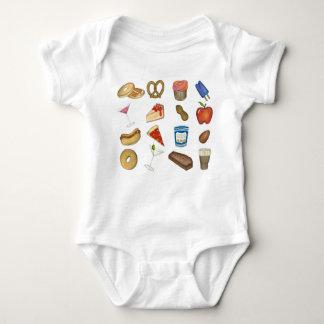 New York City Foodie NYC Foods Tourist Food Print Baby Bodysuit