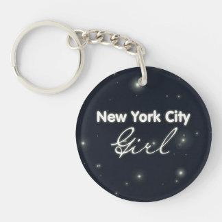 New York City Girl - Blue Sky and Stars Keychain