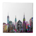 New York City graffiti Ceramic Tile<br><div class='desc'>The street meets home decor with the skyline of Manhattan covered in graffiti. This fun work of art features the Freedom tower,  Empire state building,  Chrysler building and an iconic gorilla. Choose a different background color to match you bathroom decor.</div>