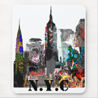 New York City graffiti skyline Mouse Pad
