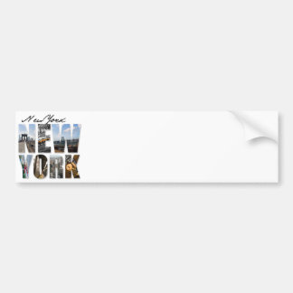 New York City Graphical Tourism Montage Bumper Sticker