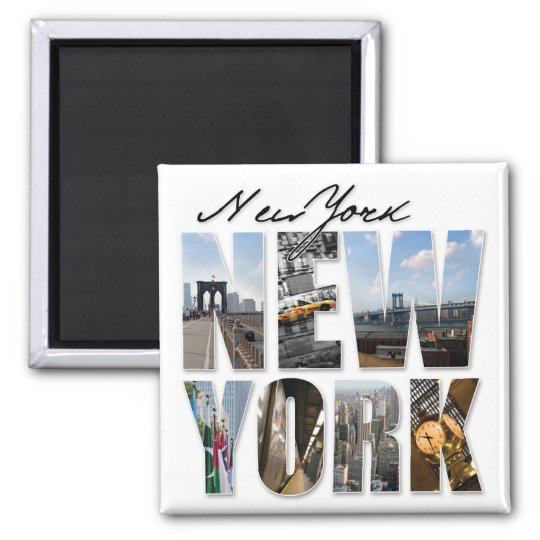 New York City Graphical Tourism Montage Magnet