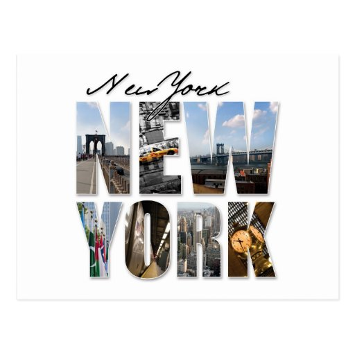New York City Graphical Tourism Montage Postcards