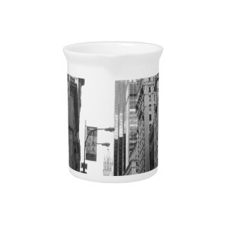 New York City Grayscale Photograph Beverage Pitcher