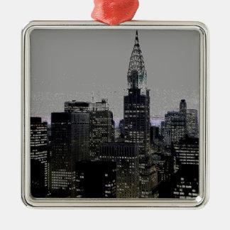 New York City Grey Black Christmas Ornaments