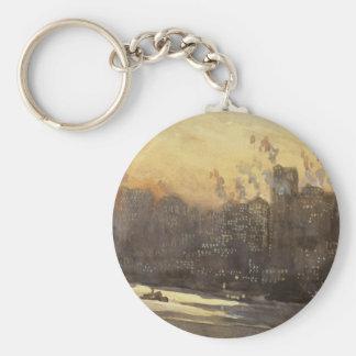 New York City harbor and skyline at night 1920's Basic Round Button Keychain