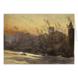 New York City harbor and skyline at night 1920's Greeting Card