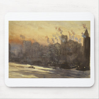 New York City harbor and skyline at night 1920's Mouse Pad