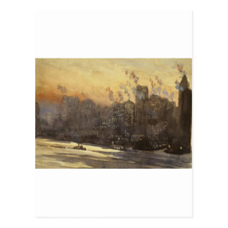 New York City harbor and skyline at night 1920's Postcard