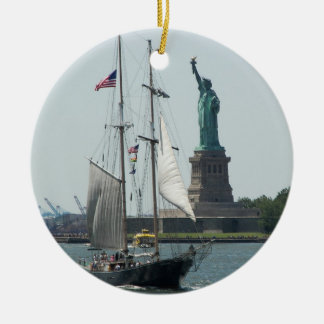 New York City Harbor Double-Sided Ceramic Round Christmas Ornament