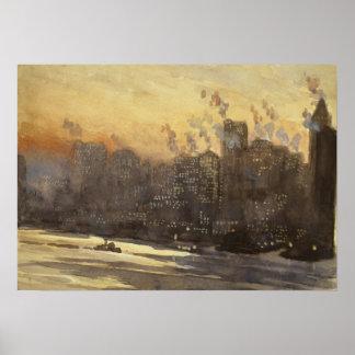 New York City harbor skyline at night 1920, Poster