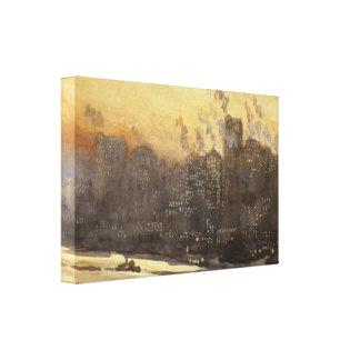 New York City harbor skyline at night Box Canvas
