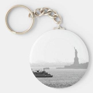 New York City Harbor - Statue of Liberty Basic Round Button Keychain