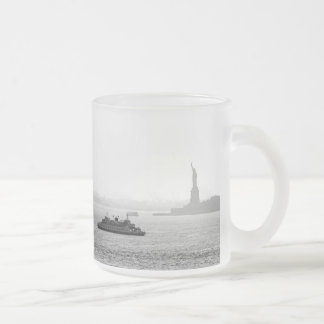 New York City Harbor - Statue of Liberty Frosted Glass Coffee Mug