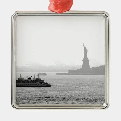 New York City Harbor - Statue of Liberty Square Metal Christmas Ornament