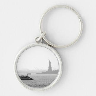 New York City Harbor - Statue of Liberty Silver-Colored Round Keychain