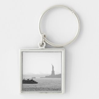 New York City Harbor - Statue of Liberty Silver-Colored Square Keychain