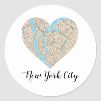 New York City Heart Map Classic Round Sticker