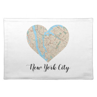 New York City Heart Map Cloth Placemat