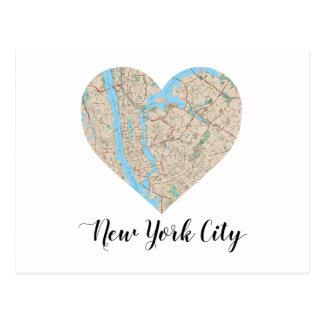 New York City Heart Map Postcard
