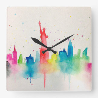 New York City Impression Square Wall Clock