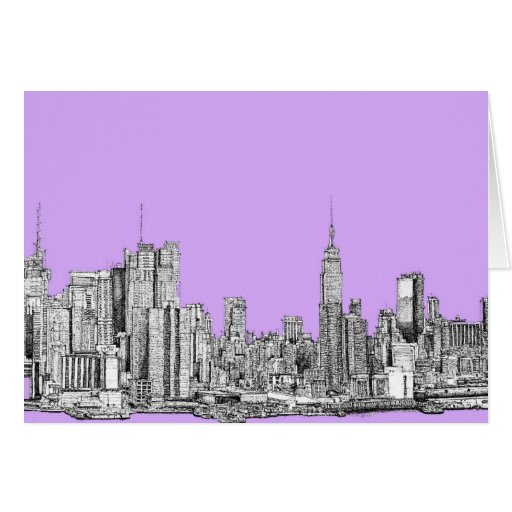 New York city in lilac pink Card